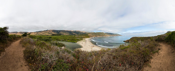 Panorama. Big Sur River (Left), Pacific Ocean (Right). Andrew Molera State Park - Big Sur, CA, USA