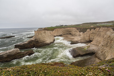 Shark Fin Cove - Davenport, CA, USA  The beach is also known as Shark Tooth Cove, Shark Tooth Beach, Shark Fin Beach, and Davenport Cove.