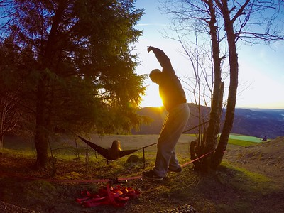 Slacklining and Hammocking in the Sunset