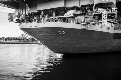 Sunset. USS Midway Museum. Tuna Harbor Park - San Diego, CA, USA