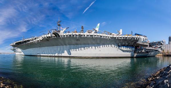 Panorama. USS Midway Museum. Tuna Harbor Park - San Diego, CA, USA