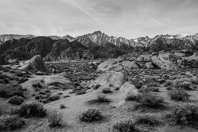 Mt. Whitney, Eastern Sierras, and Alabama Hills. Mobius Arch Loop Trail. Lone Pine, CA, USA