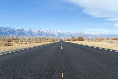 Driving into Death Valley National Park from Lone Pine, CA, USA. Eastern Sierras. Inyo County, CA, USA