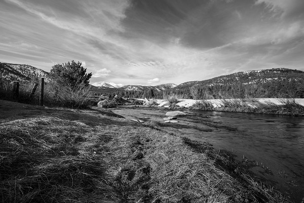 West Fork Carson River, Freel Peak, Jobs Sister, and Jobs Peak. Near Picketts Junction at Intersection of SR-88 & SR-89. Humboldt-Toiyabe National Forest, CA, USA