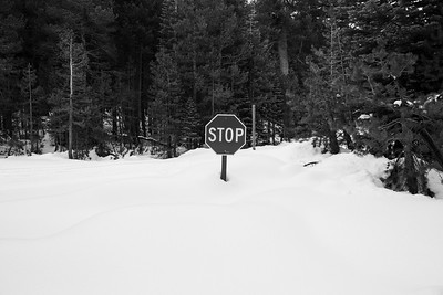 Buried Stop Sign & SR-4 (Winter Trail). Road for Lake Alpine East Shore. Stanislaus National Forest, CA, USA
