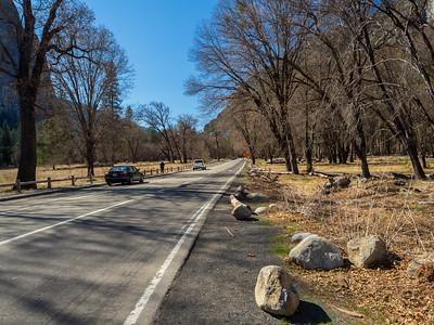 Cathedral Rocks (left). Northside Drive. Yosemite National Park, CA, USA