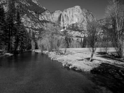 Upper Yosemite Falls & Merced River. Swinging Bridge. Yosemite National Park, CA, USA
