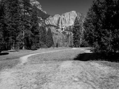 Upper Yosemite Falls. Trail Head of Four Mile Trail. Southside Drive. Yosemite National Park, CA, USA