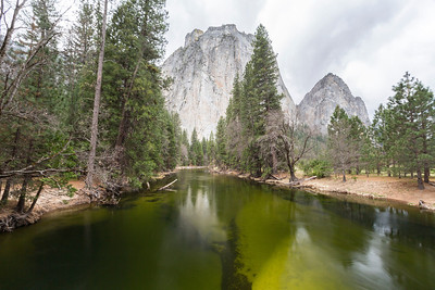 Cathedral Rocks and the Merced River. El Capitan Drive - Yosemite National Park