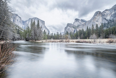 HDR Composition. Merced River, El Capitan (left), Cathedral Rocks (right), and Bridalveil Fall (right). Yosemite National Park