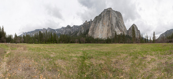 Panorama. Cathedral Rocks - Northside Drive - Yosemite National Park