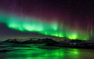 Aurora Over Jökulsárlón Glacier Lagoon, Iceland