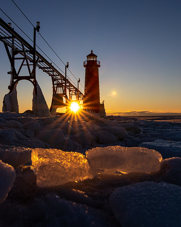 Ice Aglow in Grand Haven