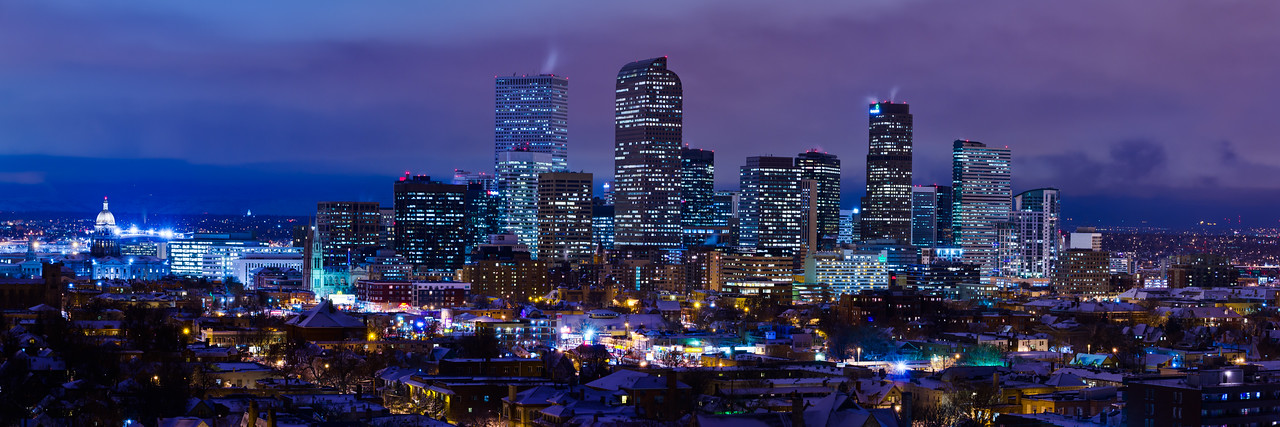 Denver Skyline Winternight