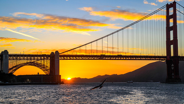 Sunset behind Golden Gate