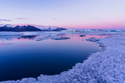 Dusk at Jökulsárlón Glacier Lagoon, Iceland