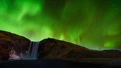 Lights Over Skogafoss, Iceland