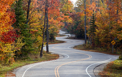 Door County winding road.  Oct 2011.