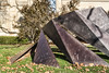 """Ginnever - Daedalus<br /> Daedalus 2017-05<br /> Charles """"Chuck"""" Ginnever<br /> Cor-Ten Steel; 1977<br /> <br /> Read more here:  <a href=""""http://www.public-art.umich.edu/the_collection/campus/central/58"""">http://www.public-art.umich.edu/the_collection/campus/central/58</a><br /> <br /> University of Michigan Central Campus, Ann Arbor<br /> Side lawn, south side of Alumni Memorial Hall (Museum of Art)<br /> Taken November 11, 2017"""