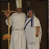 Danny Wolf, dressed as Saint Pope John Paul II, and his wife, Vivian Wolf, dressed as Saint Teresa of Kolkata, won third and first place, respectively, in the adult division of the saint costume contest during the All Hallow's Eve celebration at Sacred Heart Church in Wichita Falls.