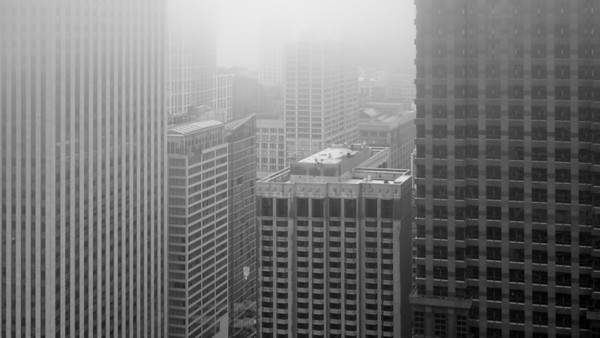 A foggy look into the Loop from Marina City Towers