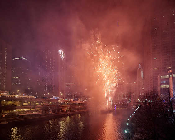 Red Fireworks New Year 2017 Chicago
