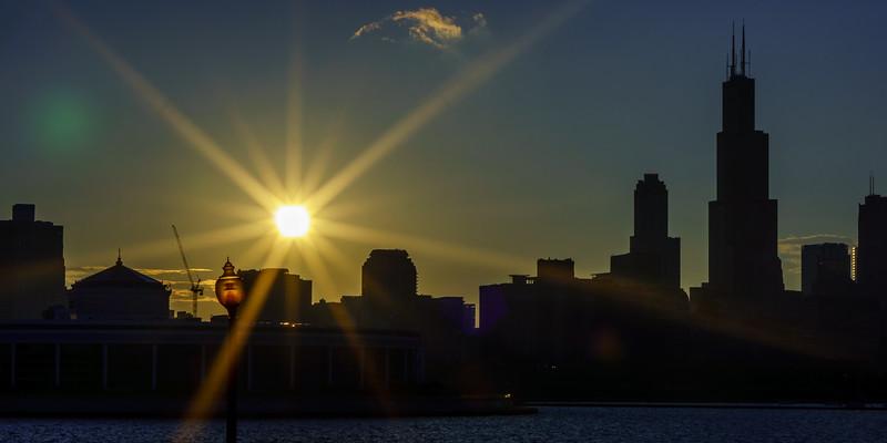 City through a starburst
