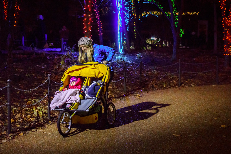 Mother walks kids during Christmas Lights