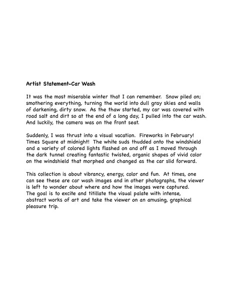 Artist Statement-Car Wash
