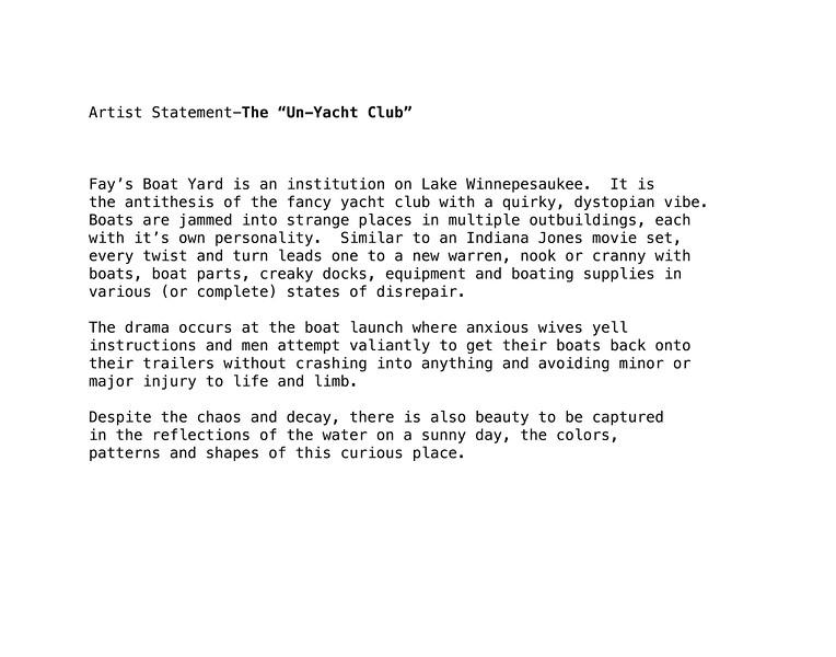 """Artist Statement-The """"Un-Yacht Club"""""""