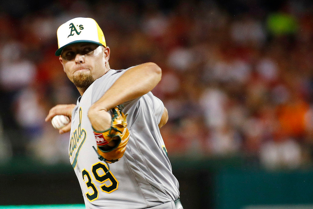 . Oakland A\'s pitcher Blake Treinen (39) throws during the sixth inning at the Major League Baseball All-star Game, Tuesday, July 17, 2018 in Washington. (AP Photo/Patrick Semansky)