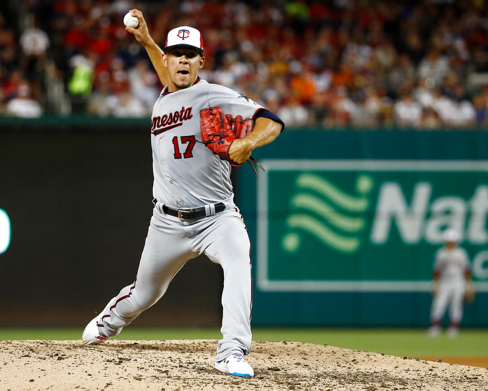. Minnesota Twins pitcher Jose Berrios (17) works during the fifth inning at the Major League Baseball All-star Game, Tuesday, July 17, 2018 in Washington. (AP Photo/Patrick Semansky)