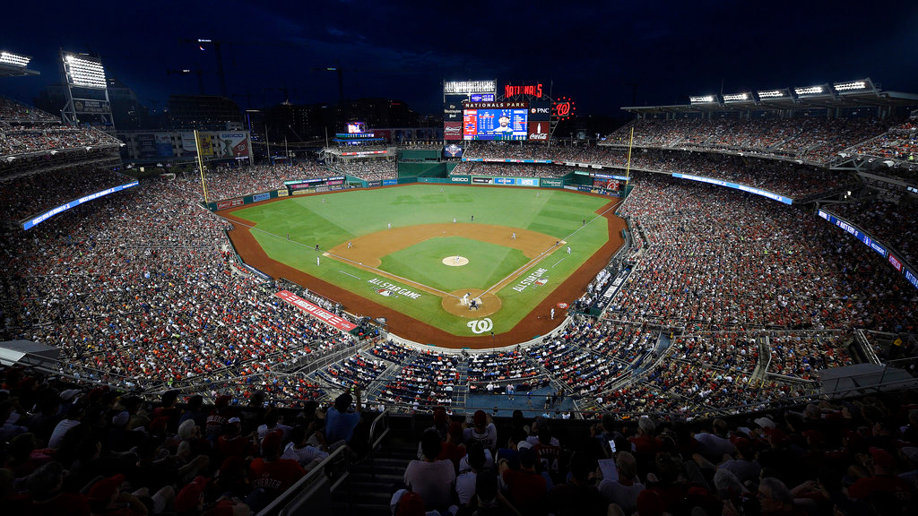 . Players work during the Major League Baseball All-star Game, Tuesday, July 17, 2018 in Washington. (AP Photo/Nick Wass)