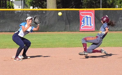 MATTHEW B. MOWERY/The Oakland Press file photo Farmington HIlls Mercy's Nicole Belans (right) is a first-team Division I honoree on the Michigan High School Softball Coaches Association All-State team.