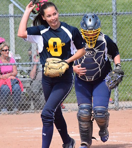 MATTHEW B. MOWERY/The Oakland Press file photo Oxford's Kaitlyn Bean (left) is a Division I honorable mention on the Michigan High School Softball Coaches Association All-State team.