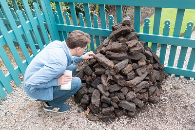 Peat blocks ready for burning
