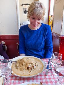 Kathy contemplates a Basque meal