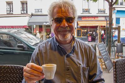 Corey enjoying espresso at Montmartre