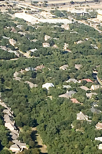 Our San Antonio house (in the middle with the bright roof)