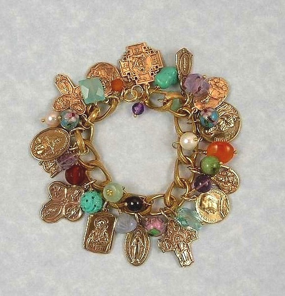 """0-GCRM-MLT CO169  15 BRONZE MEDALS WITH GEMSTONES AND CLOISONNE ON VINTAGE CHANEL CHAIN (CHAIN MAY BE DIFFERENT BUT SIMILAR)  WE MAKE AN EXTERNDER--9.5"""" CO 35 WITH STONES AND BEADS TO ATTACH TO BRACELET SO IT CAN BE WORN AS A NECKLACE--GREAT SELLING POINT.  CHAIN VARIES BECAUSE WE SELL SO MANY OF THESE WE KEEP RUNNING OUT OF THE VINTAGE CHAIN.  THEY ARE ALL VERY SIMILAR."""
