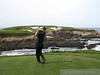 Tee shot on the spectacular 16th hole at Cypress Point.  Amazingly I chipped in from the fringe for a birdie!