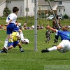 Flying through the air after a shot on goal.  SAVED!