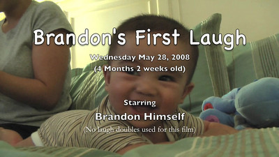 Very first video of Brandon laughing.  He started doing it the previous week with his Uncle Jer but he didn't wanna do it anymore when the camera was pointed at him.  This time we had it ready and caught it on film.