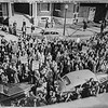 "Messenger-Inquirer Photo <br /> No photo credit - Oct. 11 1945 - GE-Ken-Rad strikers in front of Messenger-Inquirer building.<br /> <br /> ""A body of striking Ken-Rad workers and sympathizers staged a demonstration at the Messenger and Inquirer building this morning while parading in down-town Owensboro, during which their spokesman mounted the steps of the building and told them that the newspapers had been unfair to organized labor. The above picture shows the group in front of the newspaper building."""