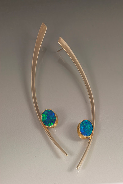 Opal Earrings :14kt yellow gold