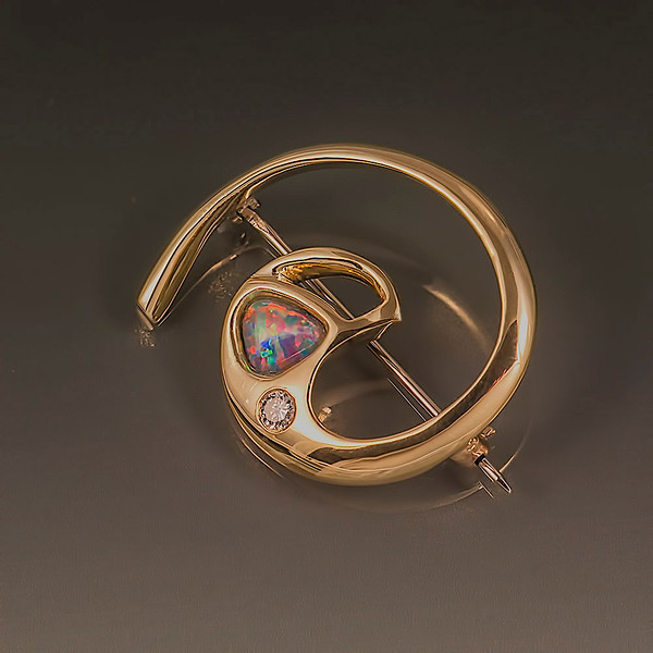 Pin,14kt gold,Opal,08pt  Diamond:One Of A Kind