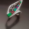 Ring, Sterling, Inlays of Chrysoprase, Gembone, Sugilite