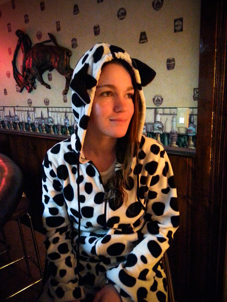 Girl in a Cow Onesie
