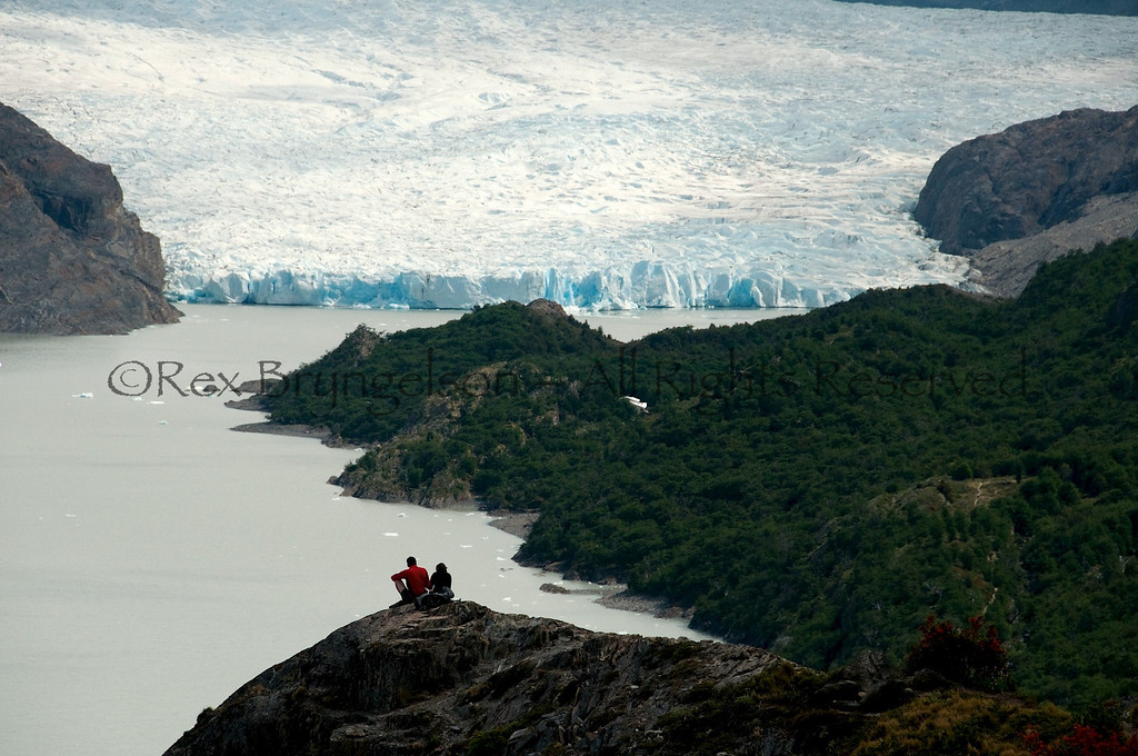 Overlooking Lago Grey and the Grey Glacier. Torres del Paine National Park, Chilean Patagonia.