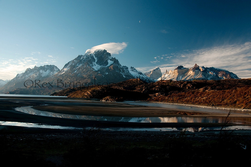 The Paine mountains from Lago Grey. Torres del Paine National Park.